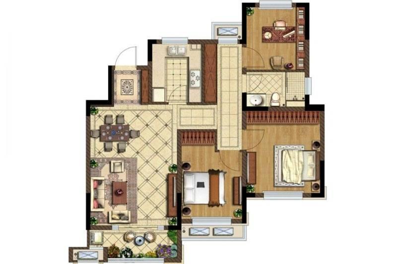 金地湖城艺境六层F户型 3室2厅1卫