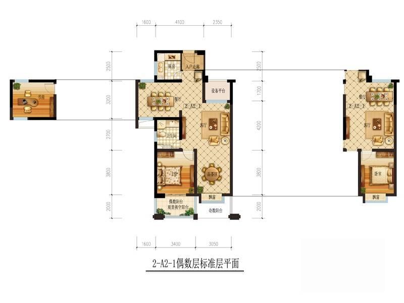 理想银泰城(商铺)2-A2-1偶数层户型