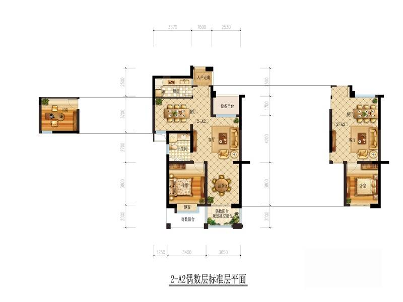 理想银泰城(商铺)2-A2偶数层户型