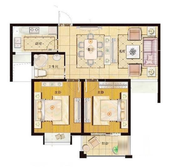 御珑湾G1户型悦香园2室2厅1卫1厨