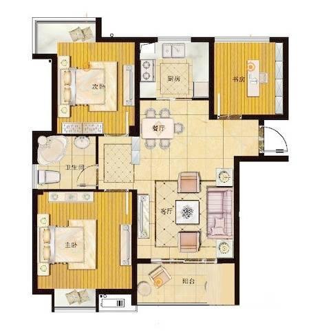 御珑湾G2户型朗香里3室2厅1卫1厨