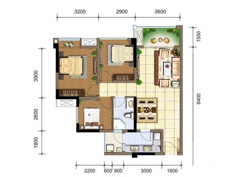 佳兆业广场A1户型图3室2厅1卫1厨