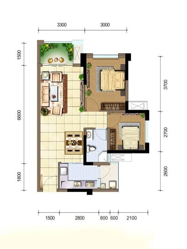 佳兆业广场B1户型图2室2厅1卫1厨