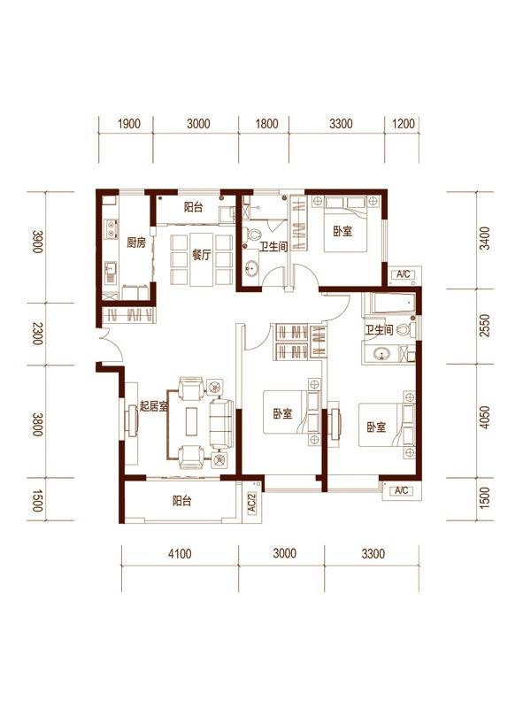 5F-29F04户型3室2厅2卫1厨