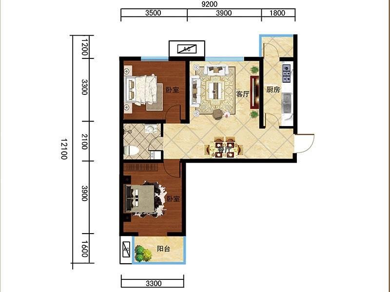 荣兴天顺7#A-3户型2室2厅1卫1厨 92.61㎡
