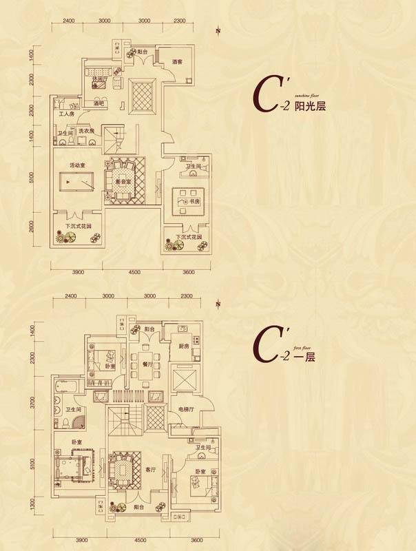复地东山国际平墅C'2户型7室4厅4卫1厨