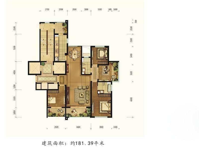 和泰·紫园平层181.39㎡3室2厅2卫1厨