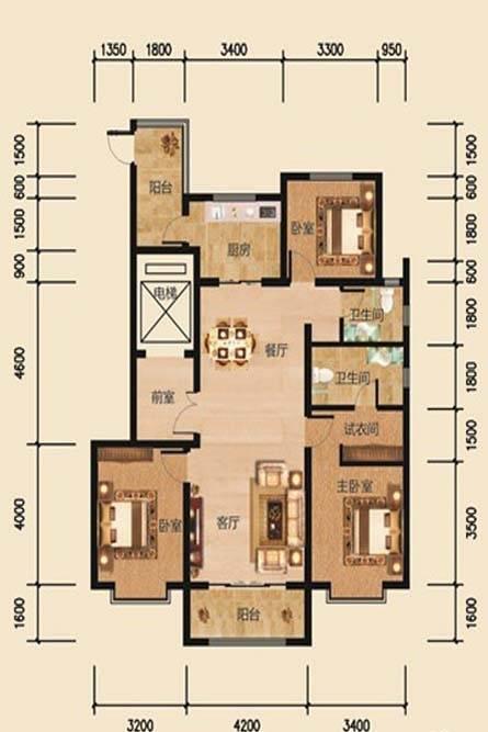 帝景公馆A1户型3室2厅2卫1厨