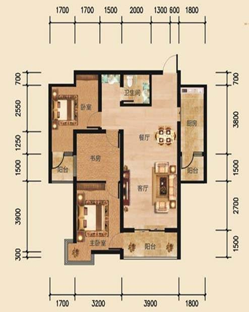 帝景公馆A8户型3室2厅1卫1厨