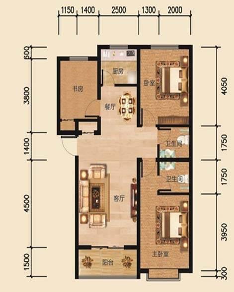 帝景公馆A7户型3室2厅2卫1厨