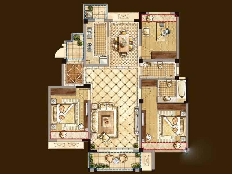 奥克伍德玫瑰园户型3室2厅2卫1厨