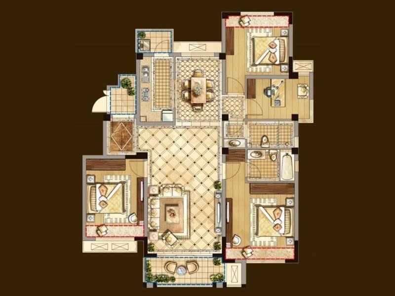 奥克伍德玫瑰园户型4室2厅2卫1厨