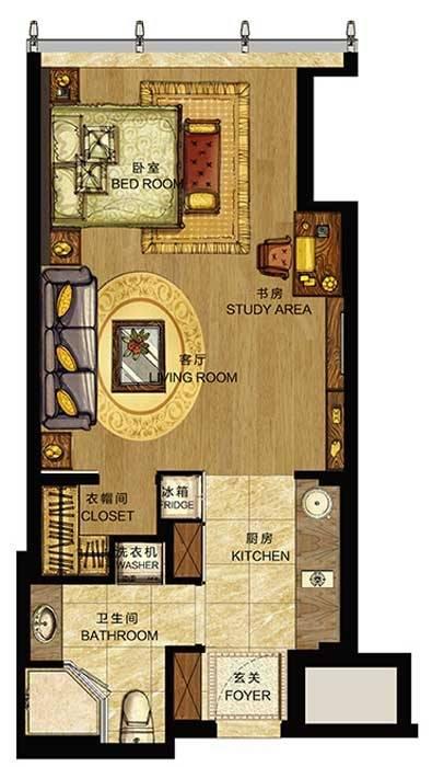 世包国际中心A户型1室1厅1卫1厨