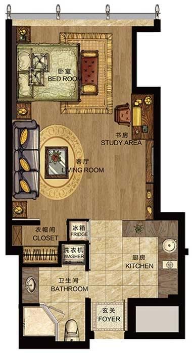 世包国际中心B户型1室1厅1卫1厨