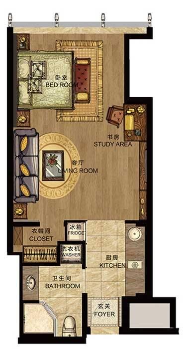 世包国际中心C户型1室1厅1卫1厨 65.00㎡