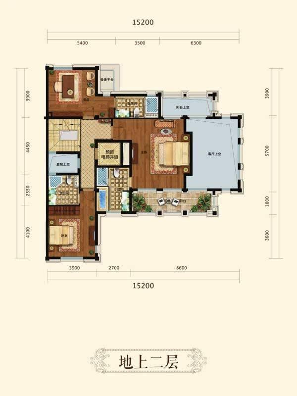中天官河别墅A3户型8室4厅8卫2厨(二层)