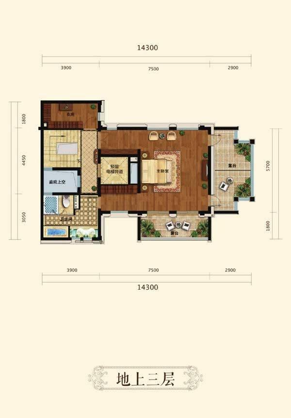 中天官河别墅A3户型8室4厅8卫2厨(三层)