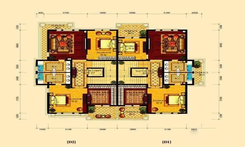 绿野御墅D户型三层6室4厅2卫1厨