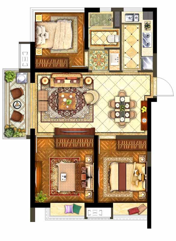 保利西江月标准层A户型3室2厅1卫1厨
