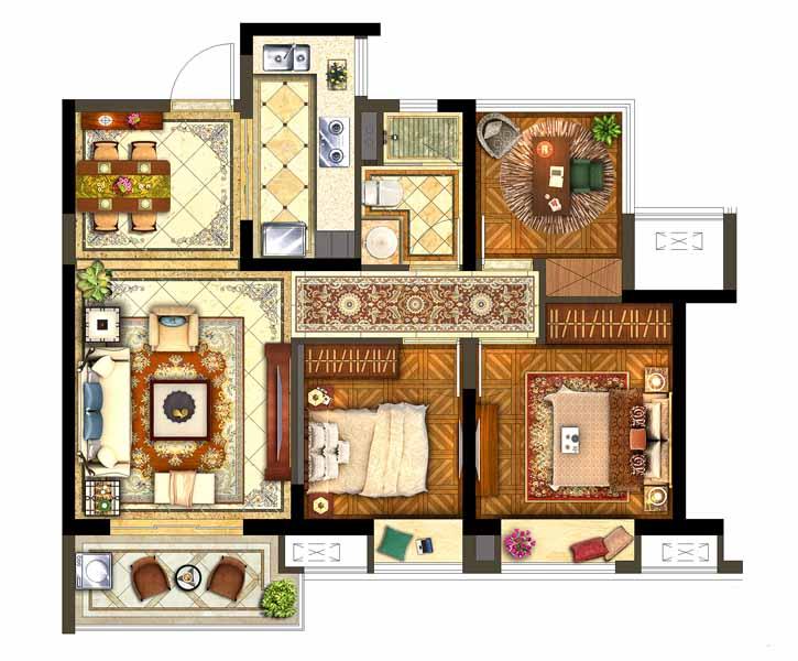 保利西江月标准层B户型3室2厅1卫1厨