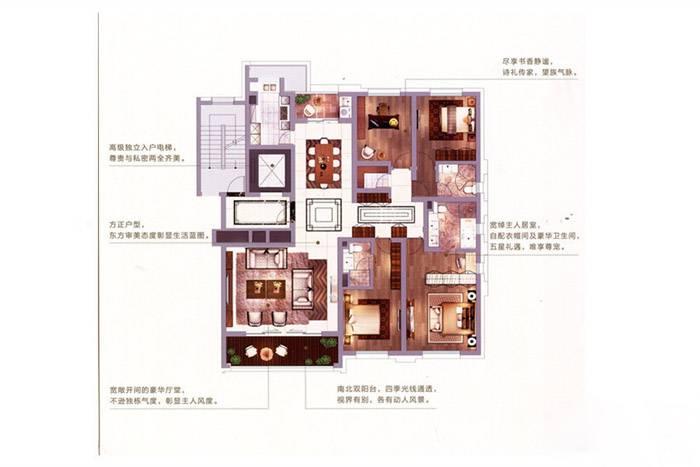 金陵雅颂居C1户型213平 4室2厅3卫1厨